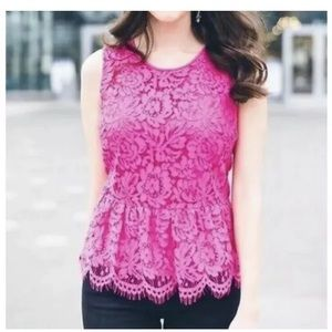 J.Crew Lace Peplum Top Size 8 Pink Blouse Floral